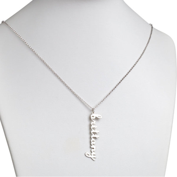 925 Sterling Silver Personalized Vertical Lowercase Script Name Necklace Adjustable Chain 16