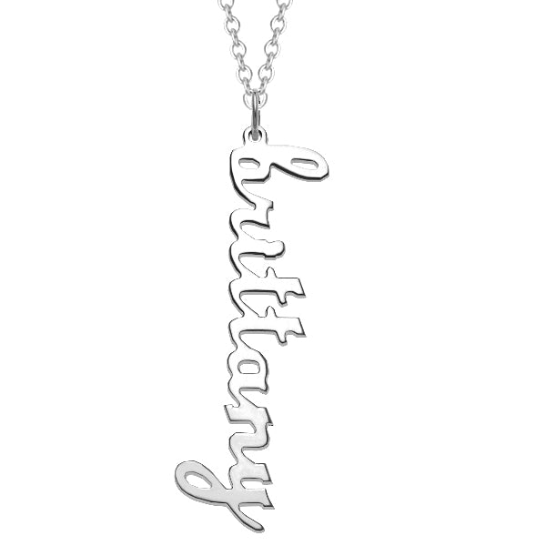 "925 Sterling Silver Personalized Vertical Lowercase Script Name Necklace Adjustable Chain 16""-20"""