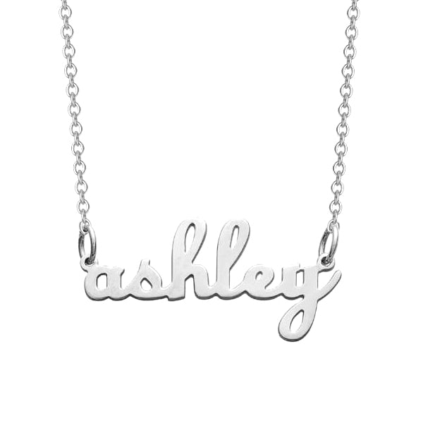 "925 Sterling Silver Personalized Lowercase Script Name Necklace Adjustable Chain 16""-20"""