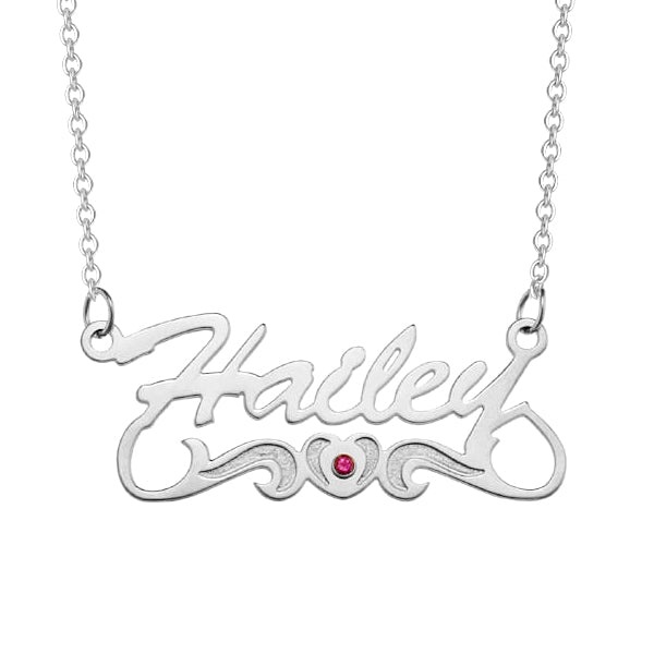 925 Sterling Silver Personalized Script Name with Birthstone Heart Tail  Necklace Adjustable Chain 16