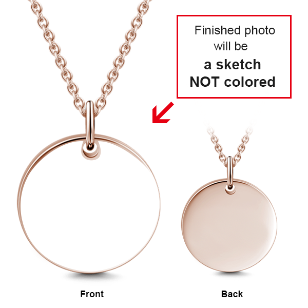 "14K Gold Personalized Engraved Adjustable 16""-20"" Photo Necklace"