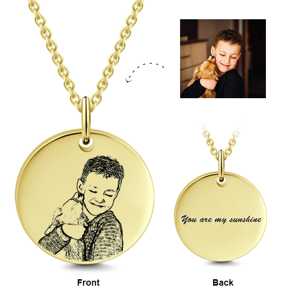 "14K Gold Personalized Kids Engraved Photo Necklace Adjustable 16""-20"""