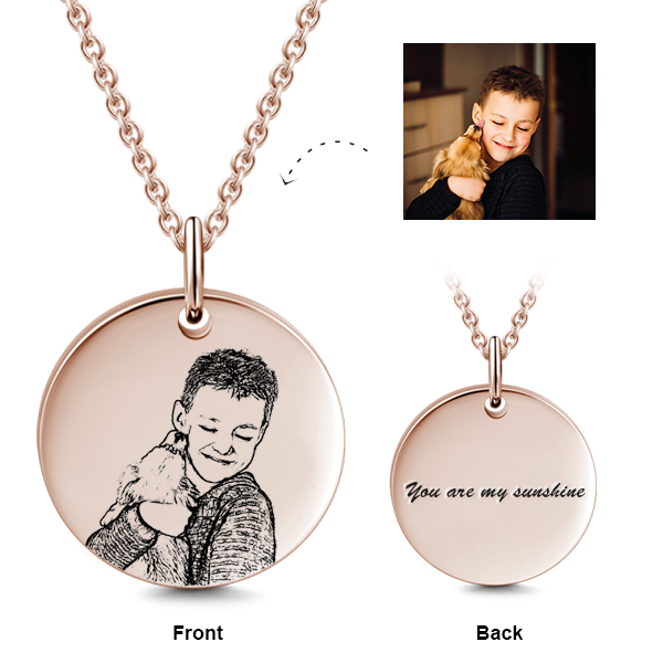 925 STERLING SILVER/14K GOLD KIDS ENGRAVED PHOTO NECKLACE