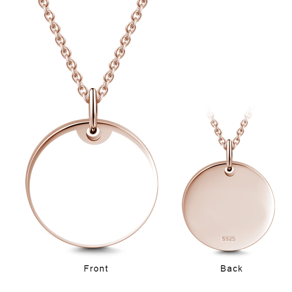 "14K Gold Personalized Engraved Photo With Message Round Necklace Adjustable 16""-20"""