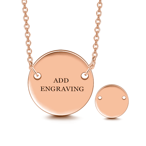 "Copper/925 Sterling Silver Personalized Engravable Hang Tag Round Necklace-Adjustable 16""-20"""