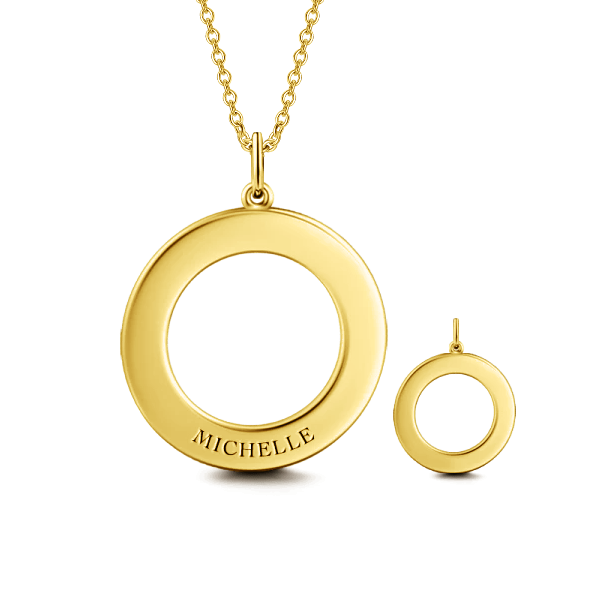 "10K/14K Gold Personalized Engravable Disc Necklace Adjustable 16""-20""-White Gold/Yellow Gold/Rose Gold"
