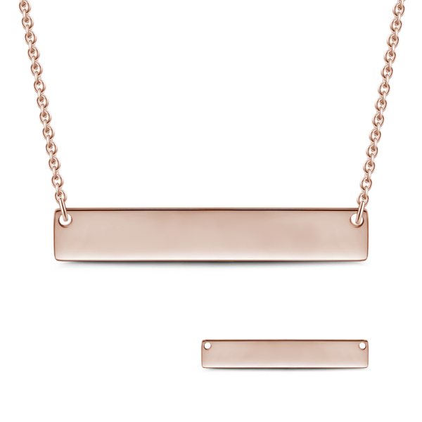 14K Gold Engravable Bar Necklace Adjustable Chain-White Gold/Yellow Gold/Rose Gold