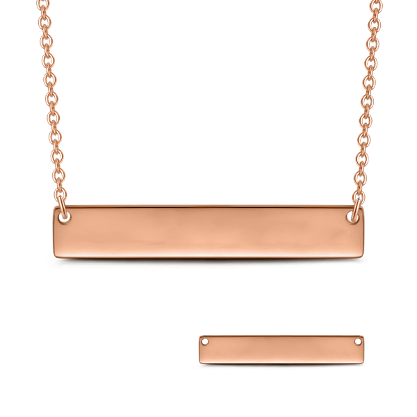 "Copper/I'll Love You Forever - Personalized Bar Necklace Adjustable Chain 16""-20"""