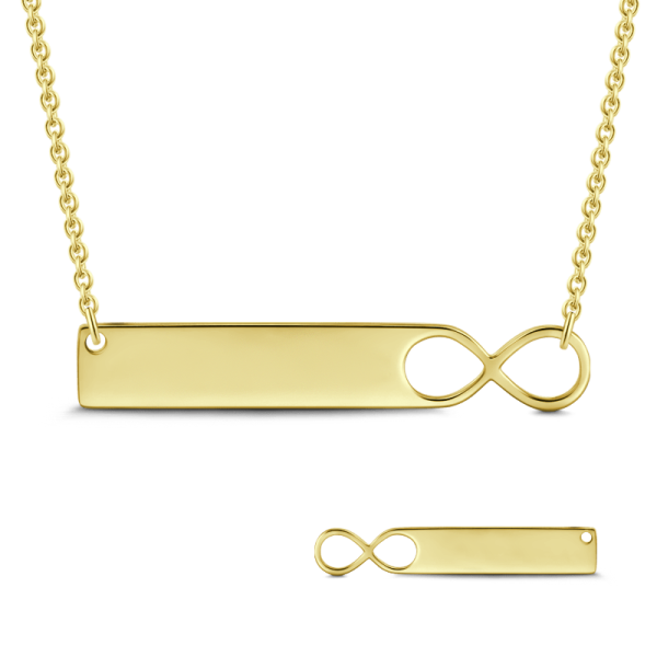 INFINITY 14K GOLD ENGRAVABLE BAR NECKLACE ADJUSTABLE CHAIN
