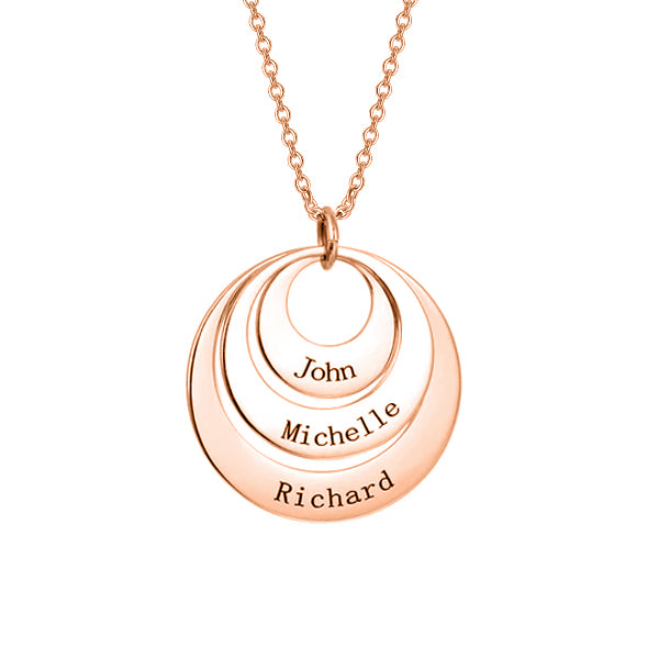 "Copper/925 Sterling Silver Personalized Engravable Three Disc Necklace Adjustable 16""-20"""
