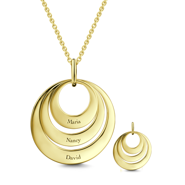 14K Gold Personalized Engravable Three Disc Necklace Adjustable Chain