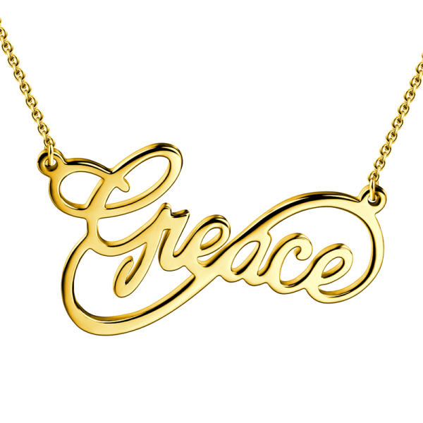 14K Gold Personalized Infinity Name Necklace - White Gold/Yellow Gold/Rose Gold