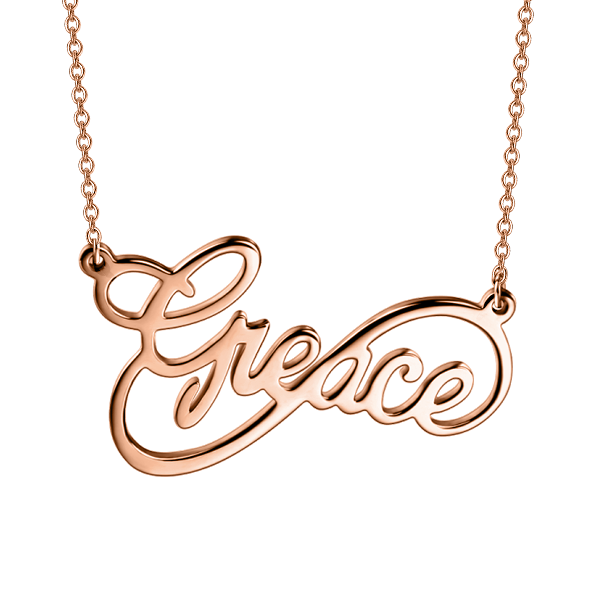 Copper/925 Sterling Silver Personalized Infinity Name Necklace