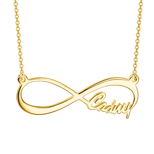 "Copper/925 Sterling Silver Personalized Infinity Single Name Necklace Adjustable 16""-20"""