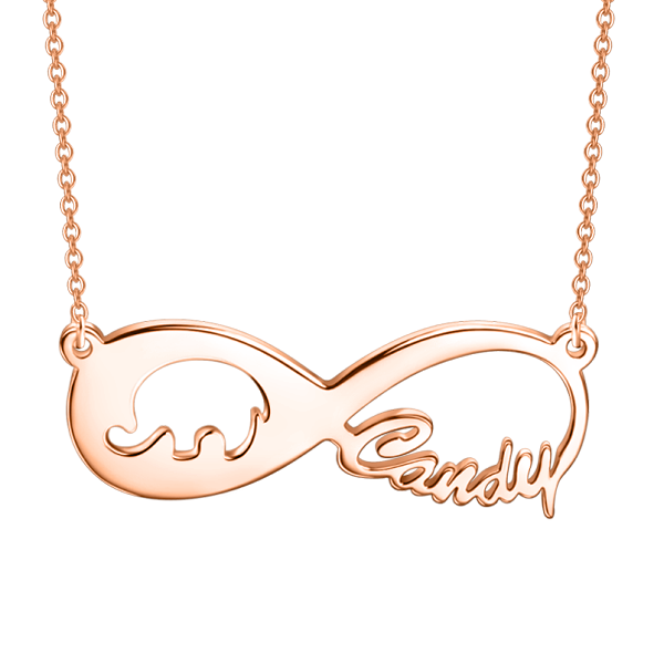 "Copper/925 Sterling Silver Personalized Elephant Infinity Name Necklace Adjustable 16""-20"""
