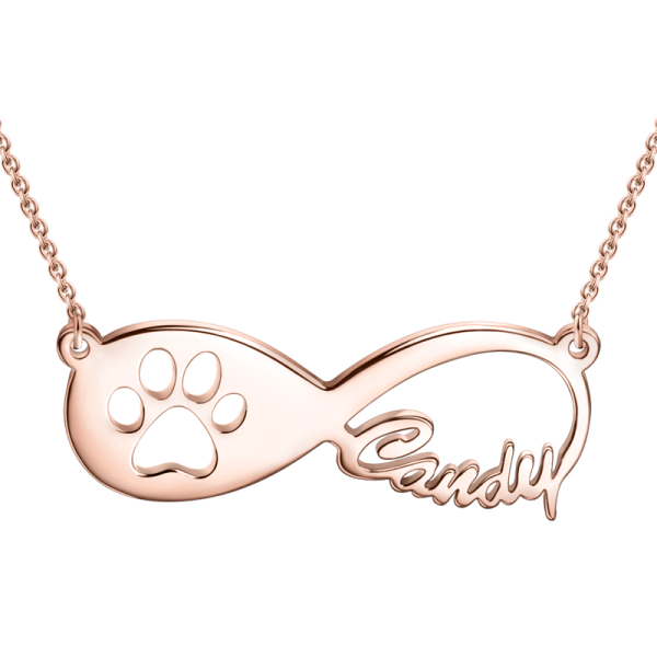 Pawprint Infinity Name Necklace-Silver/14K Gold