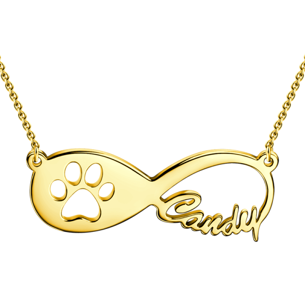 14K Gold Pawprint Infinity Name Necklace Adjustable Chain- White Gold/Yellow Gold/Rose Gold