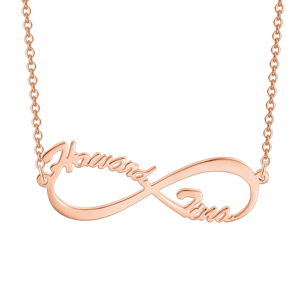 "Infinite Love -Copper/925 Sterling Silver Personalized Name Necklace Adjustable 16""-20"""