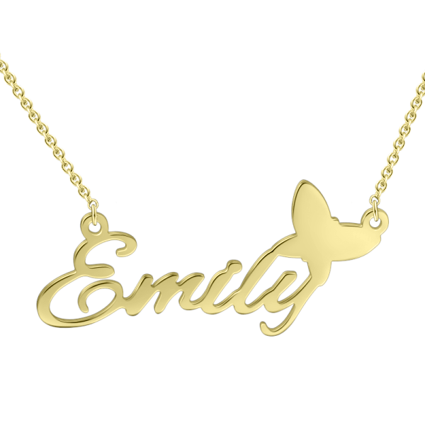 "9K Gold ""Amy""Style Personalized Name Necklace Adjustable 16""-20"""