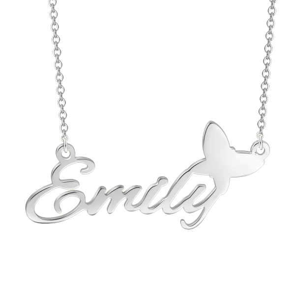 "Emily - 925 Sterling Silver Personalized Name Necklace Adjustable 16""-20"""