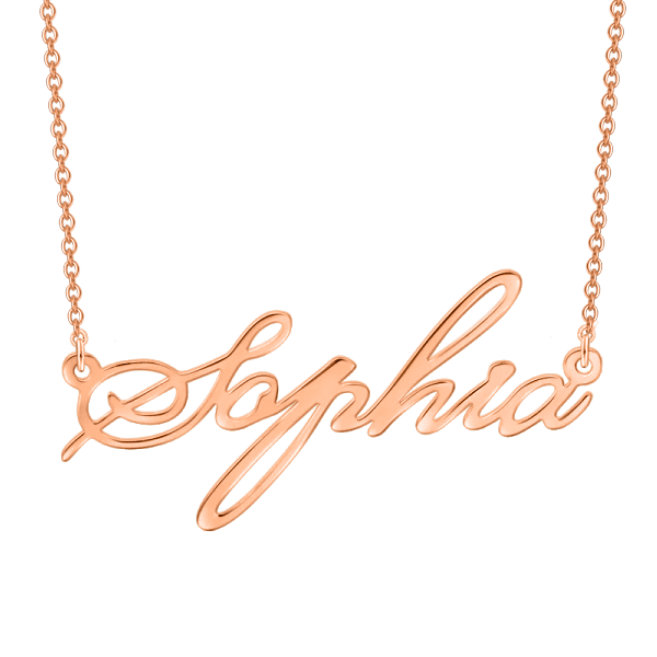 "Sophia - 925 Sterling Silver/10K/14K/18K Personalized Adjustable 16""-20"" Name Necklace"