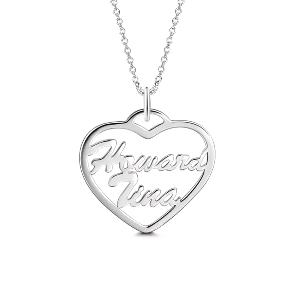 "10K/14K Gold Personalized Heart Name Necklace Adjustable 16""-20""-White Gold/Yellow Gold/Rose Gold"
