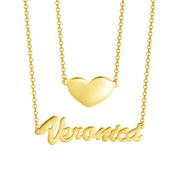 "10K/14K Gold Two Layers Personalized Heart Name Necklace Adjustable 16""-20"""