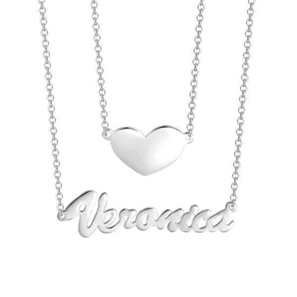 "❤ Veronica - Put you in my heart - 925 Sterling Silver/10K/14K/18K Two Layers Personalized Heart Name Necklace Adjustable 16""-20"""