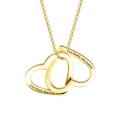 "Two Hearts as One - 10K/14K Gold Personalized Double Heart Necklace Adjustable 16""-20"""