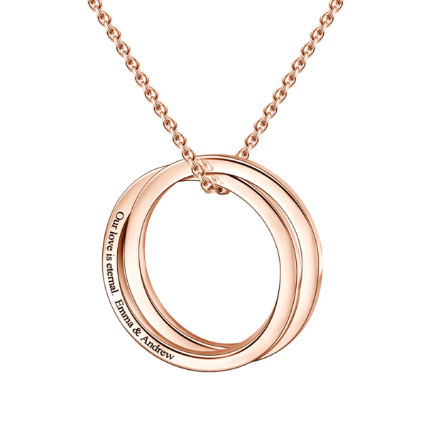 "14K Gold-Personalized Engravable Double Loop Necklace Adjustable 16""-20"""