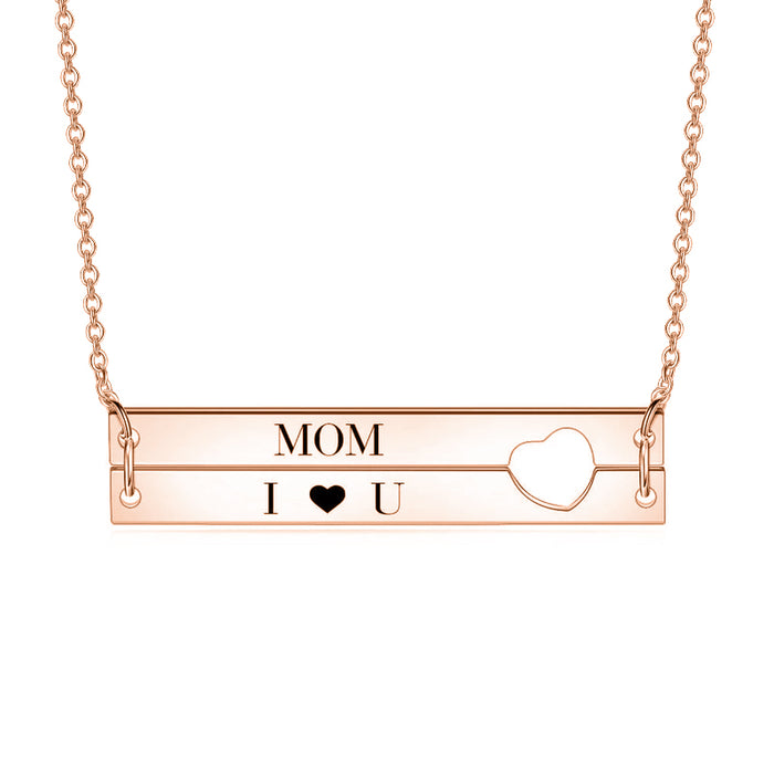"Close To My Heart - 10K/4K Gold Personalized Engraved Bar Necklace Adjustable 16""-20"""