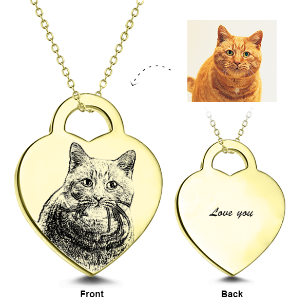 "Adjustable 16""-20""  14K Gold  Personalized Engraved Pets Photo Necklaces"