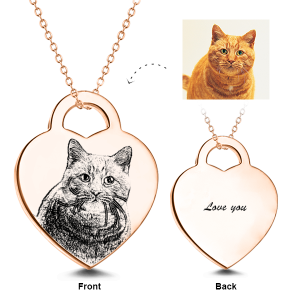 925 Sterling Silver/14K Gold Engraved Pets Photo Necklaces