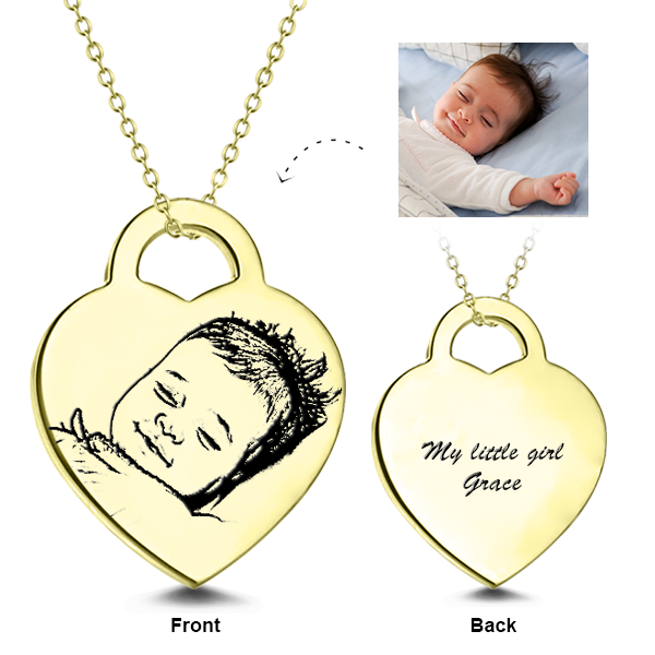 925 Sterling Silver/14K Gold KIDS Engraved Photo Necklaces
