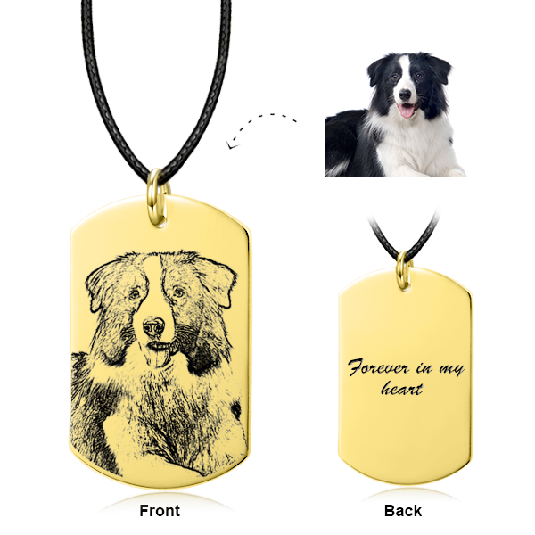 14K Gold Pet Personalized Engraved Photo Necklace
