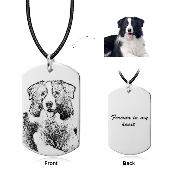 925 Sterling Silver/ 14K Gold Pet Engraved Photo Necklace