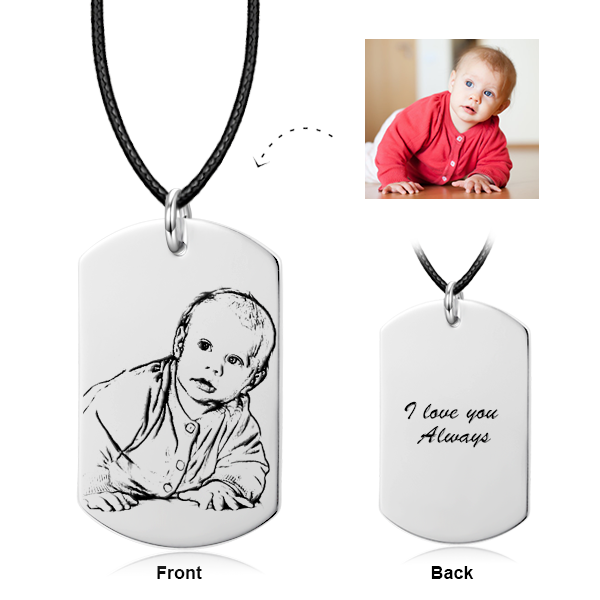 925 Sterling Silver/ 14K Gold KIDS Engraved Photo Pendant Necklace