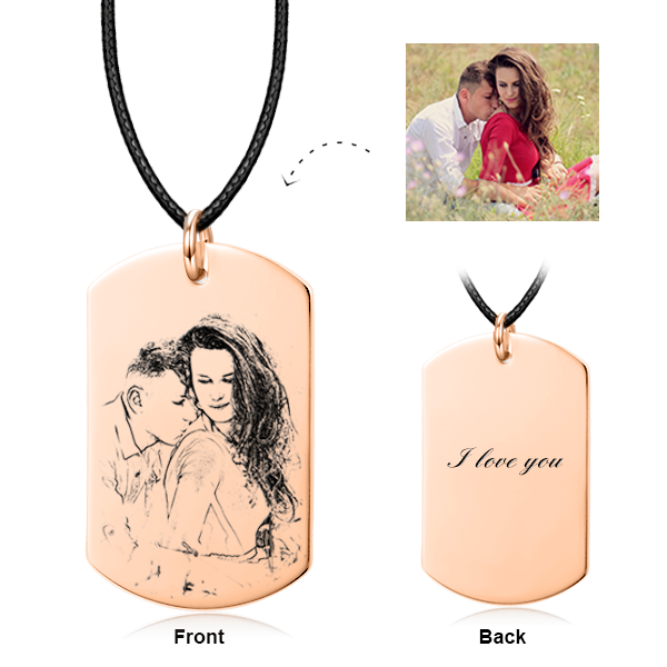 Only You - 925 Sterling Silver Personalized Engraved Photo Necklace