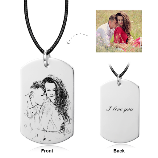 Only You - Sterling Silver/ 14K Gold Engraved Photo Necklace