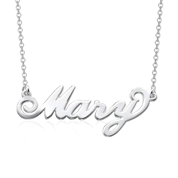 """Mary"" Style Copper/925 Sterling Silver Personalized Name Necklace Adjustable 16""-20"""