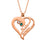 "Heart To Heart Forever-Copper/925 Sterling Silver Personalized Birthstone Heart Name Necklace -Adjustable 16""-20"""