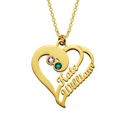 "Heart To Heart Forever-14K Gold Personalized Birthstone Heart Name Necklace -Adjustable 16""-20"""