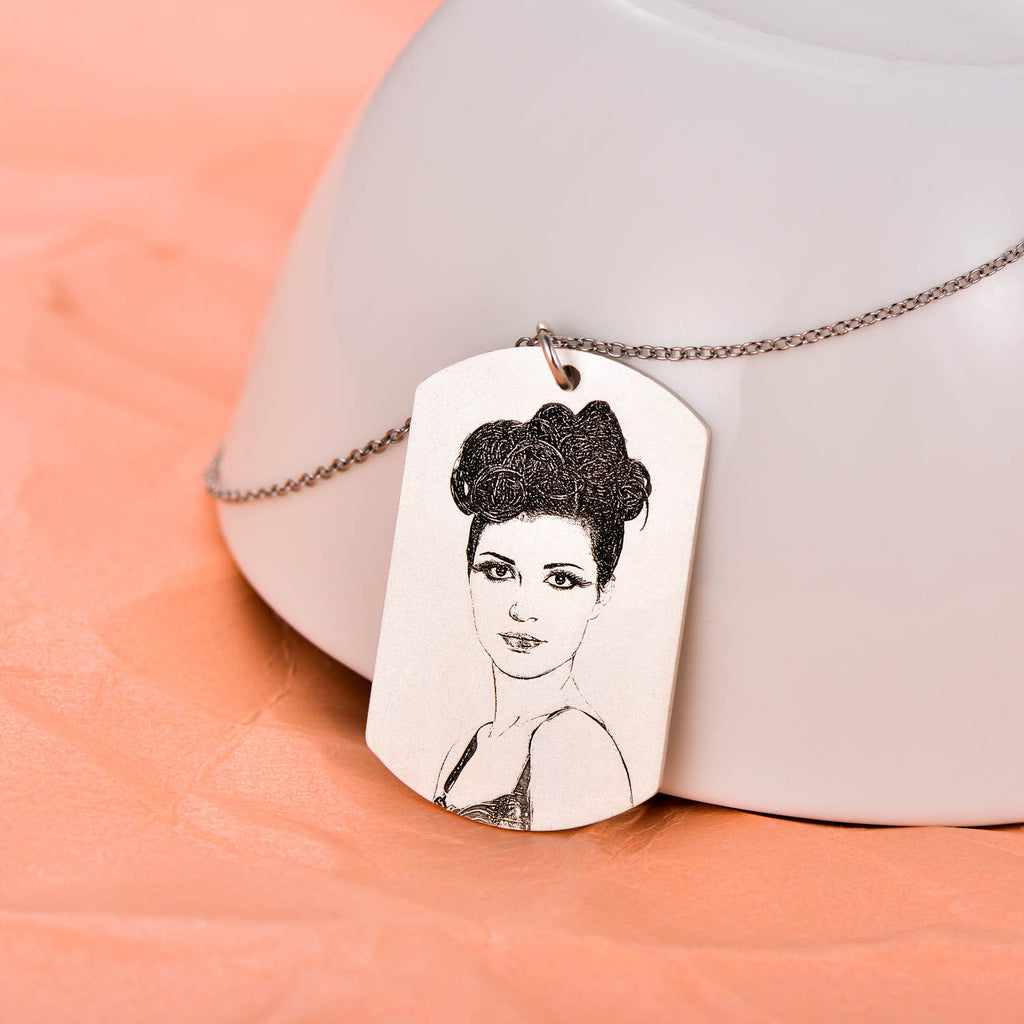 925 Sterling Silver Personalized Engraved Photo Necklace Adjustable 16