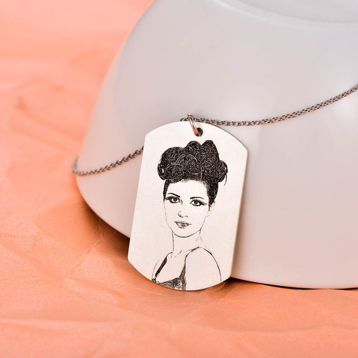 "925 Sterling Silver Personalized Engraved Photo Necklace Adjustable 16""-20"