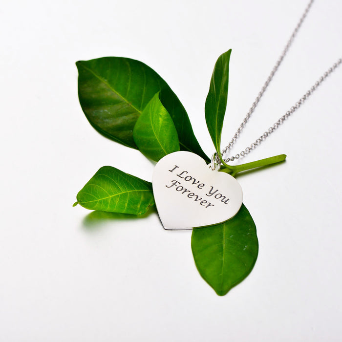 "Forever Love-925 Sterling Silver Personalized Engraved Heart Photo Necklace Adjustable 16""-20"