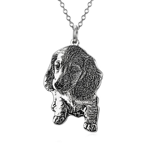 "925 Sterling Silver Personalized Engraved Pets Photo Necklace Adjustable 16""-20"