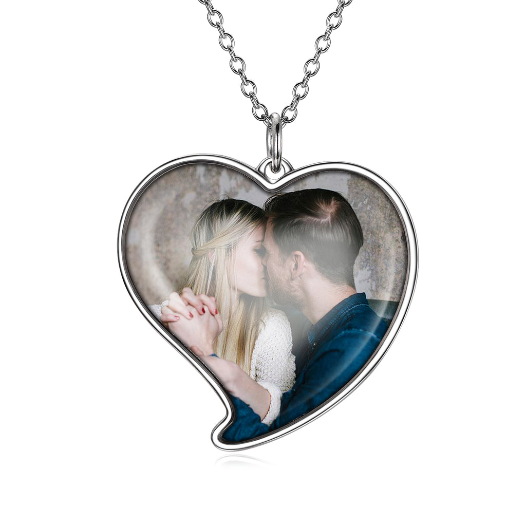 Love You-925 Sterling Silver Personalized Heart Color Photo Necklace Adjustable 16