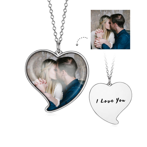 "Love You-925 Sterling Silver Personalized Heart Color Photo Necklace Adjustable 16""-20"""