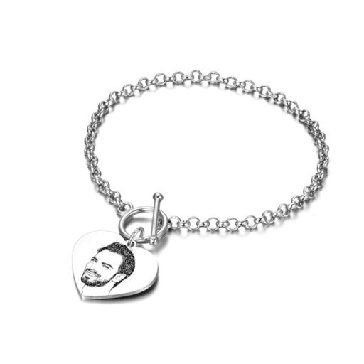 "925 Sterling Silver Personalized  Heart Engraved Photo Bracelet Length Adjustable 6""-7.5"""