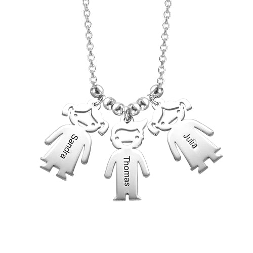 "925 Sterling Silver Personalized Mother's Necklace with Children Charms Adjustable 16""-20"""
